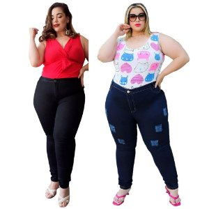 Kit C/ 6 Calças Jeans Femininas Plusize Atacado