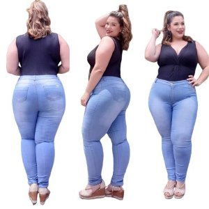 Calça Jeans Feminina Plusize Skinny Delave