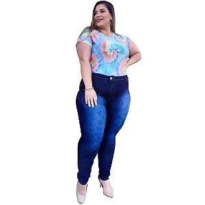Calça Jeans Feminina Plusize Manchadinha