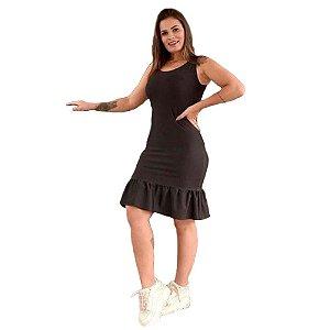 Vestido Curto Suplex Modelo Regata com Babado Na Saia