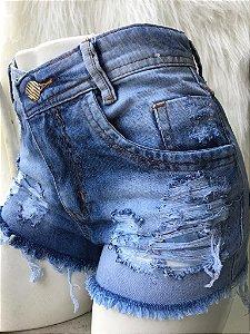 Shorts Jeans Femininos Destroyed Sem Lycra Kit com 6 Peças