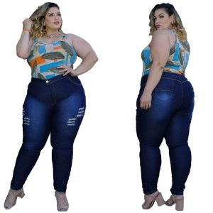 Calça Jeans Feminina Plusize Escura Rasgada