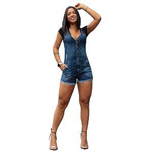 Macaquinho Jeans Feminino Com Lycra.