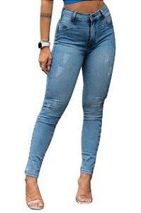 Calça Jeans Feminina Cintura Alta Clara Rajada - Meitrix Jeans