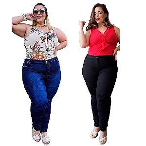 Kit com 2 Calças Jeans Feminina Tamanho Grande Plus