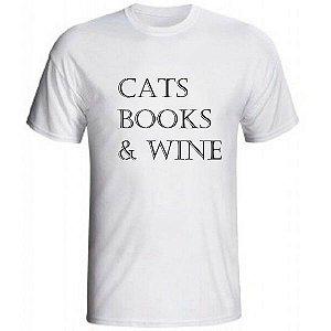 Camiseta 'Cats, Books & Wine'