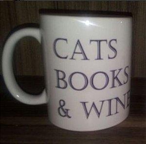 Caneca 'Cats, Books & Wine'