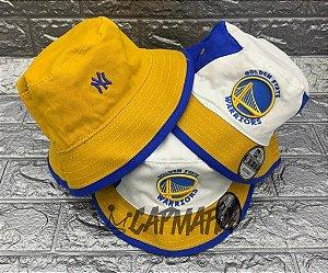 Bucket Hat New Era Dupla Face Golden State Warriors x Yankees Royal Blue White