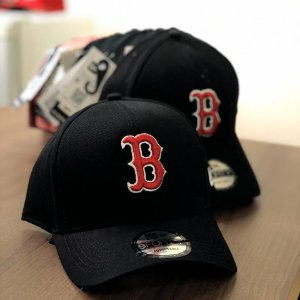Cap New Era Boston Red Sox Black Strapback Aba Curva