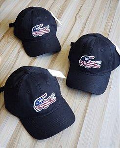 Cap Lacoste Big Croc Classic Black USA Strapback Aba Curva
