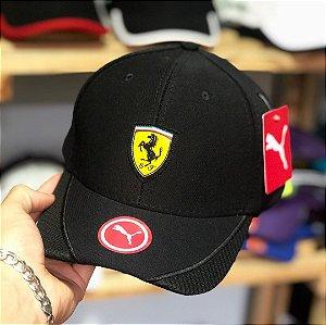 Cap Puma Scuderia Ferrari Black Aba Curva