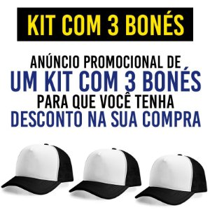 Kit Promocional com 3 Bonés