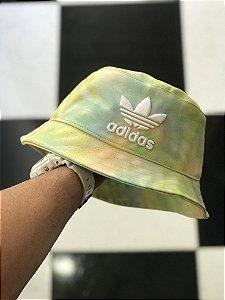 Bucket Hat Adidas Brand Tie Dye Green Lights White