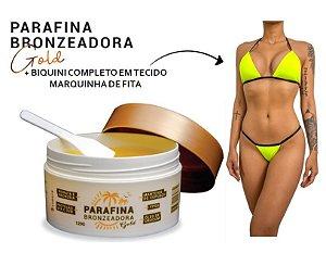 Parafina Bronzeadora Gold 120g Lorkin + 01 Biquíni Marquinha de Fita Amarelo Neon