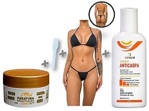 Kit Mix Lorkin - Parafina Bronzeadora com Biquíni de Fita e Shampoo Anticaspa Lorkin
