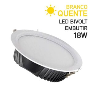 Plafon LED Embutir Redondo 18W Bivolt Branco Quente