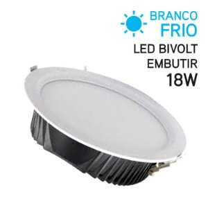 Plafon LED Embutir Redondo 18W Bivolt Branco Frio