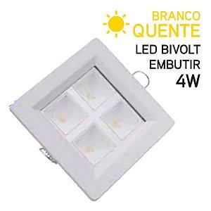 Plafon LED Embutir quadrado 4W Bivolt Branco Quente