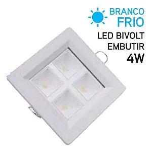 Plafon LED Embutir Quadrado 4W Bivolt Branco Frio