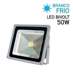 Projetor LED 50W Bivolt IP 65 Branco Frio