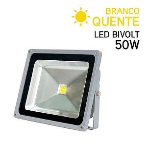 Projetor LED 50W Bivolt IP 65 Branco Quente