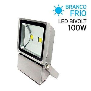 Projetor LED 100W Bivolt IP 65 Branco Frio