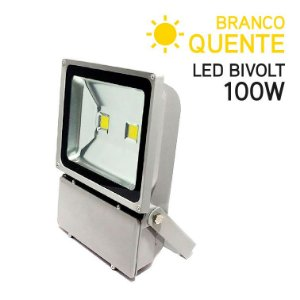 Projetor LED 100W Bivolt IP 65 Branco Quente
