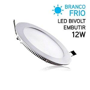 Plafon LED Embutir Redondo 12W Bivolt Branco Frio 17cm