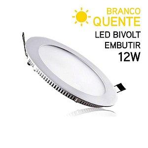 Plafon LED Embutir Redondo 12W Bivolt Branco Quente 17cm