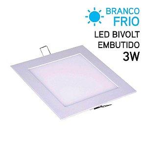 Plafon LED Embutir Quadrado 3W Bivolt Branco Frio 8,6cm