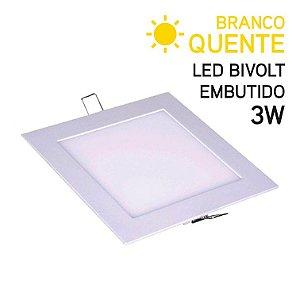 Plafon LED Embutir Quadrado 3W Bivolt Branco Quente 8,6cm