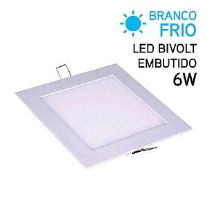 Plafon LED Embutir Quadrado 6W Bivolt Branco Frio 12,2cm