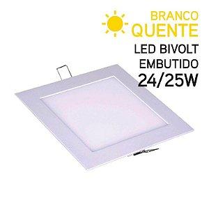 Plafon LED Embutir Quadrado 24/25W Bivolt Branco Quente 30,3cm