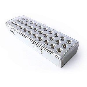 Luminária de Emergência LED 30 leds 3W Bivolt Branco Frio Bateria Litio Alça Retrátil