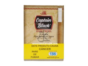 Cigarrilha Captain Black Dark Crema Com Piteira C/8