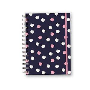 Caderno A5 Azul - Poá Branco e Rosa