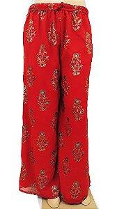 Calça Pantalona Vermelha Estampada U