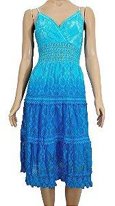 Vestido Curto Renda Azul G