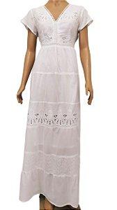 Vestido Longo Branco Com Bordado G