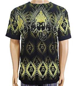 Camiseta Indiana Estampada Preta Ganesha G