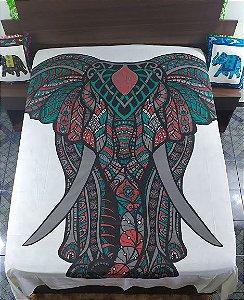 Colcha Estampada Elefante Casal