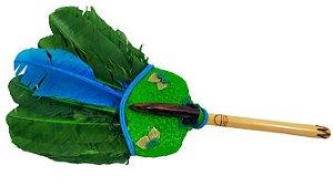 Abanilho Xamânico Verde Com Azul