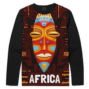 Camiseta Manga Longa Mascara Tribal Africana