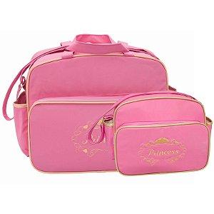 Conjunto Bolsa Maternidade Rosa Princesa Lilian Baby