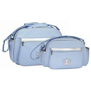 Conjunto Bolsa Maternidade Azul e Prata Coroa Lilian Baby