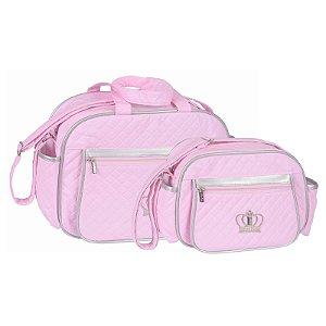 Conjunto Bolsa Maternidade Rosa e Prata Coroa Lilian Baby