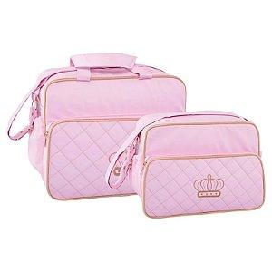 Conjunto Bolsa Maternidade Rosa Bordado Coroa Lilian Baby