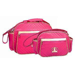 Conjunto Bolsa Maternidade Coroa Pink Dourado Lilian Baby