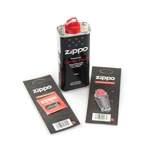Kit Zippo Original - Fluído 125ml, 6 Pedras e Pavio