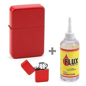 Kit Isqueiro Star Vermelho Liso + Fluído